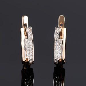 Серьги бриллиант  (золото 585 пр. родир. бел.) огранка