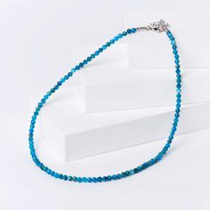 Бусы апатит синий  (биж. сплав) огранка 4 мм 46 см (+7 см)