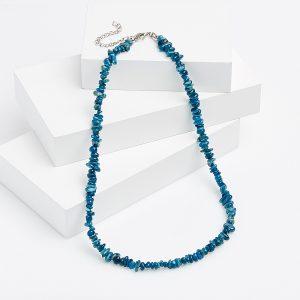 Бусы апатит синий  (биж. сплав) 49 см (+7 см)