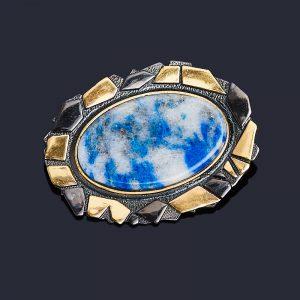 Брошь лазурит  (серебро 925 пр. позолота, родир. черн.)
