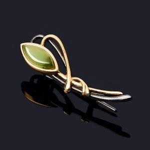 Брошь нефрит зеленый  (серебро 925 пр. позолота, родир. черн.)