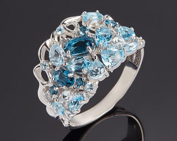 Кольцо топаз swiss, голубой, лондон  (серебро 925 пр. родир. бел.) огранка размер 18,5
