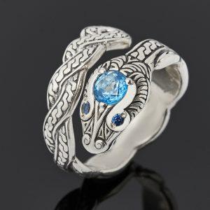 Кольцо топаз голубой  (серебро 925 пр. оксидир.) огранка (регулируемый) размер 17
