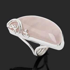 Кольцо розовый кварц  (серебро 925 пр. родир. бел.) (регулируемый) размер 16,5