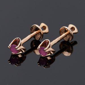 Серьги рубин  (серебро 925 пр. позолота) пуссеты огранка