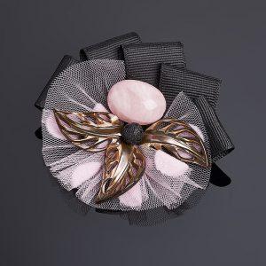 Брошь микс перламутр, розовый кварц (биж. сплав, текстиль)