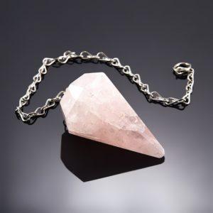 Биолокационный маятник розовый кварц граненый  (биж. сплав)