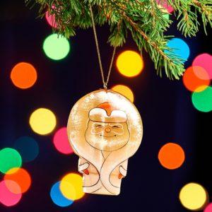 Елочная игрушка селенит  Дед Мороз 75х53х16 мм