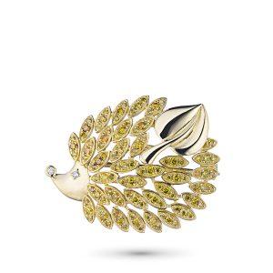 Брошь из желтого золота с бриллиантами